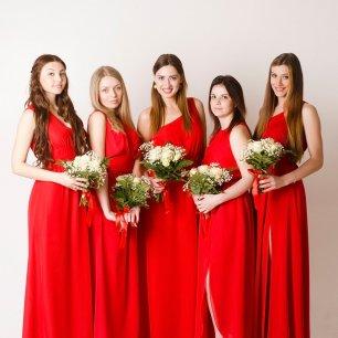 Красные платья подружек невесты купить
